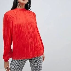 ASOS pleated long sleeve blouse with tie back